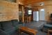 wood paneled wall living room