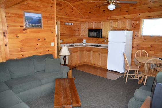 Cabin with kitchen and living room