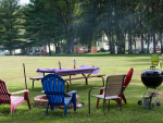 picnic area with table, chairs and firepit