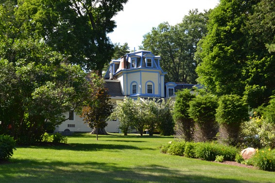 Lodge hose with trees and bushes lawn